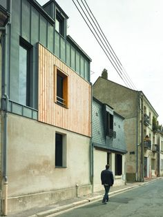 Home in France by atelier 100architecture | Slatted timber, folded metal sheet and concrete
