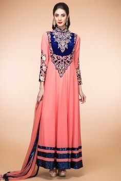 Carrot Pink Georgette ready to wear anarkali churidar suit. Daman/hem and yoke embroidered with resham, zari, zircon, beads, sequins and embroidered work. Band collar neck, Ankle length, full sleeves kameez. Carrot Pink santoon churidar http://www.andaazfashion.com/salwar-kameez/anarkali-suits