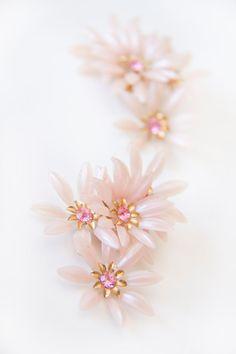 Pink Coro Flower Clip Earrings by Bixipix on Etsy, $35.00