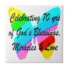 CELEBRATING 70TH BIRTHDAY BUTTERFLY DESIGN TILE http://www.zazzle.com/jlpbirthday/gifts?cg=196361917885490522&rf=238246180177746410  #70thbirthday #70yearsold #Happy70thbirthday #70thbirthdaygift #70thbirthdayidea #Christian70th  #happy70th