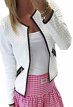 146eca88f1a3a ONTBYB Womens Fashion Long Sleeve Slim Fit Lightweight Open Front Jacket  Dark Grey XL Zara Fashion