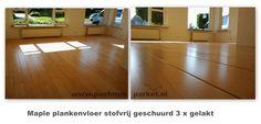 Maple plankenvloer 3 x gelakt.  www.postmusparket.nl