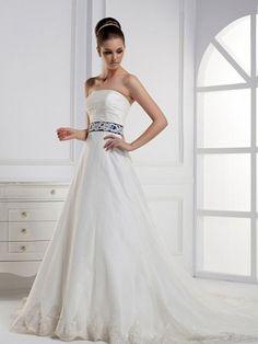 Princess Strapless Taffeta Court Train White Lace Wedding Dresses at Millybridal.com