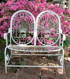 Garden bench-pink azaleas  // Great Gardens & Ideas //