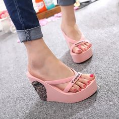 eb6b439f4bfa8a New Women wedge high heels slipper platform beach travel sandals flip flop  shoes