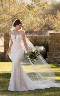 Courtesy of Essense of Australia wedding dresses; Layered Lace Wedding Dress with Asymmetrical Neckline by Essense of Australia Lace Wedding Dress, Fit And Flare Wedding Dress, Wedding Dresses Plus Size, Best Wedding Dresses, Designer Wedding Dresses, Bridal Dresses, Modest Wedding, Wedding Lingerie, Wedding Shoes