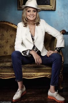 Twiggy wears JACKET, Tara Jarmon. SHIRT and JEANS, both Twiggy at Marks & Spencer. HAT, La...