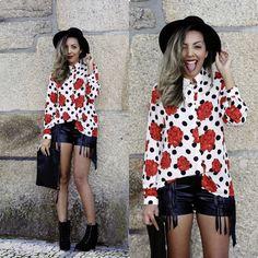 Camisa Poá com Rosas e Shorts com Franjas – Look