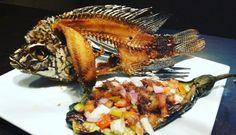 Filipino food strikes again! Deep fried tilapia with #eggplant #salad. #gerrysgrill #foodstagram  #foodie #foods #learnwdmom #veggies #fish