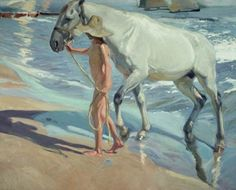 Ölbilder Ölgemälde Washing the Horse von Sorolla 80cmx60cm