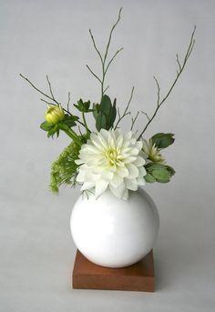 white vase ceramic and wood vase Ceramic Vase Flower Vase