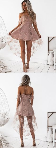 Homecoming Dress, Cute Prom Dress, A-Line Spaghetti Straps  Homecoming Dress,  Hi-Lo Blush Lace Homecoming Dress, Open Back  Homecoming Dress, Sexy  Homecoming Dress, Fashion  Homecoming Dress,  Homecoming Dress For girls