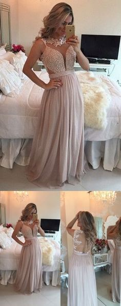 Elegant Dusty Pink Chiffon Prom Dress,Beading Appliques Evening Dress,Floor Length Party Dress by MeetBeauty, $155.64 USD