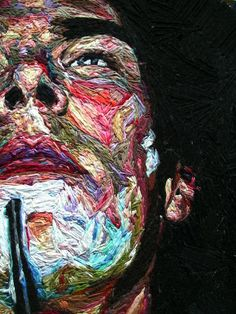 Julie Sarloutte's Hand-Embroidered Portrait Art Fibres Textiles, Textile Fiber Art, Textile Artists, Portrait Embroidery, Embroidery Art, Embroidery Boutique, Embroidery Designs, Thread Art, Thread Painting