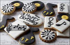 Jazz inspired cookies set for Rat Pack Dessert Bar. Cookies by Taste a Cookie Violin Cake, Cookies Website, Music Cakes, Sweet Buffet, Personalized Cookies, 13th Birthday Parties, Birthday Cookies, Creative Advertising, Dessert Bars
