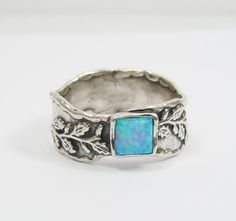 SQUARE leafs sterling silver opal ring. birthday gift for her, romantic gift ideas, opal jewelry