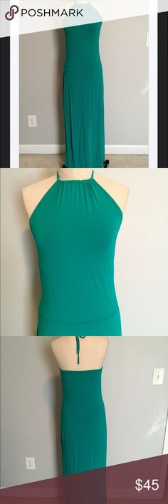 """SALE! Lovely Ann Taylor Emerald Maxi Dress, S No offers on sale items please, thank you. This is truly so pretty. It is in like new condition also. Made by Ann Taylor, and not from the factory store. Material is super soft with a lot of stretch to it in a blend of rayon and spandex for a great fit. 36"""" bust and 56"""" total length from back of neck strap to bottom hem. From a smoke and pet free home. Bundle with over 200 items for an additional 20% off or more! Ann Taylor Dresses Maxi"""