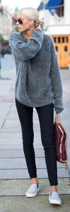 grey sweater with slipons
