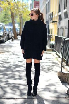 So how exactly should you be styling over-the-knee boots this winter? Click for outfit ideas we love, including this sweater dress pairing from We Wore What