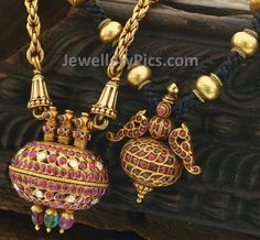 Antique gold chain with rubies embedded pendant - Latest Jewellery Designs
