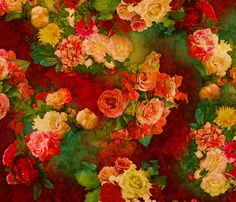 Vintage Roses Pattern fabric by dinorahdesign on Spoonflower - custom fabric