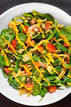 Spinach and Pulled Turkey Salad with Carrot-Ginger Dressing