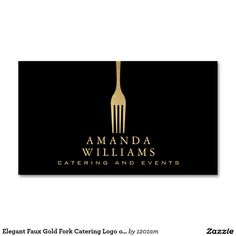Elegant Faux Gold Fork Catering Logo on Black Double-Sided Standard Business Cards (Pack Of 100) - Ready to customize for yourself! Perfect for caterers, personal chefs, food stands, meal preparation and more.