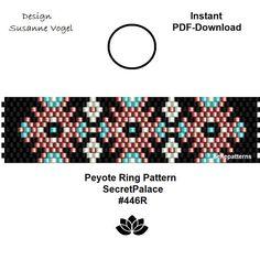 Diy Beaded Rings, Beaded Jewelry, Beaded Bracelets, Diy Rings, Beaded Earrings, Bead Loom Patterns, Peyote Patterns, Beading Patterns, Ring Designs