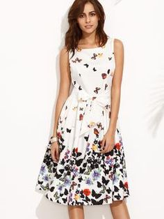 White Butterfly Print Flare Dress