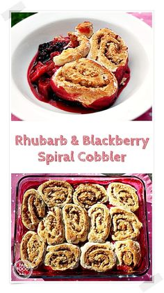 Rhubarb & Blackberry Spiral Cobbler with marzipan & cinnamon cobbler topping! A fab comfort pudding perfect for autumn. Great Desserts, Best Dessert Recipes, Healthy Desserts, Delicious Desserts, Yummy Food, Fruit Recipes, Rhubarb Cobbler, Cobbler Topping, Blackberry Cobbler
