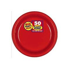 """These Apple Red Big Pack 10"""" Plastic Plates come in packages of 50."""