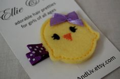 Peep Felt Hair Clip - Yellow Purple - Baby Chick - Ducky - Easter - Hair Accessory - Baby Toddler Little Girl Hair Bow Felt Hair Clips, Hair Barrettes, Hairbows, Duck Crafts, Felt Crafts Diy, Purple Baby, Baby Chicks, Girl Hair Bows, Little Girl Hairstyles