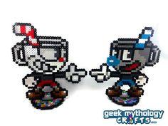 Cuphead and Mugman Perler Bead Sprite Pixel Art Figure Stand