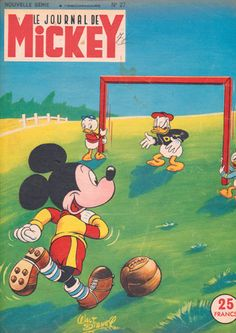 Mickey Mouse and Donald Duck, Soccer Game, Vintage Magazine Cover - 1950's