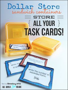 Organize all of your task cards for reading and math centers using these affordable containers!
