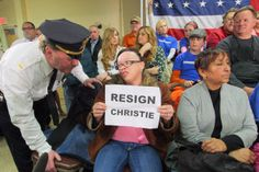 At Chris Christie town hall, woman says officials confiscated her 'Resign Christie' signs Town Hall Meeting, Chris Christie, Liberal Politics, Hurricane Sandy, After The Storm, Equal Rights, Police Officer, New Jersey, Equality