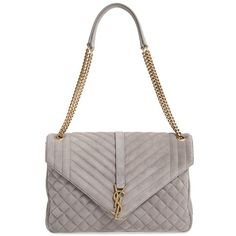 Women's Saint Laurent 'Large Kate - College' Quilted Calfskin Suede... ($2,490) ❤ liked on Polyvore featuring bags, handbags, shoulder bags, fog, white quilted handbag, white shoulder bag, white handbags, structured handbags and yves saint laurent shoulder bag