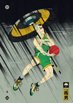 "Andrew Archer's ""Edo Ball.""Inspired by basketball, culture, Japan and Ukiyo-e illustrations artist Andrew Archer has completed a phenomenal new print series entitled, ""Edo Ball."" As Andrew explains,. Basketball Tricks, Basketball Art, Basketball Uniforms, Japanese Poster, Japanese Art, Traditional Japanese, Japanese Culture, Cartoon Kunst, Cartoon Art"