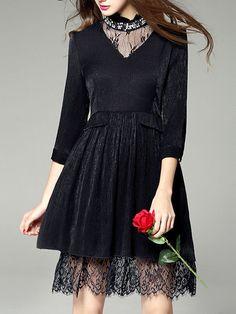Beaded Lace Mini Dress
