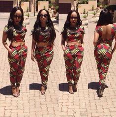 Crop backless outfit Ankara African print   PRINTS   Pinterest