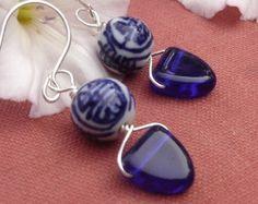Chinese Porcelain Cobalt Blue Earrings, Glass Triangle Dangle Earrings, Asian Jewelry Beads