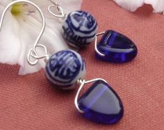 Chinese Porcelain Cobalt Blue Earrings, Glass Triangle Dangle Earrings, Asian Jewelry Beads
