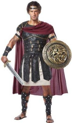 Description #01258 If you are ready to take the fight into the coliseum, nothing fits better than this Roman Gladiator. This outfit comes with a tunic, body armor with attached belt and cape, velcro s