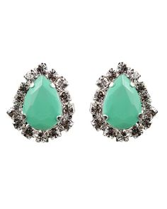 Mint Green Teardrop Studs - JewelMint