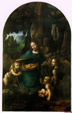 """Leonardo da Vinci's """"Virgin on the Rocks"""" in the National Gallery, London. Interestingly, there are 3 versions of this painting."""