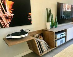 Vinyl Storage, Record Storage, Home Studio Musik, Record Player Stand, Future House, Man Cave, Sweet Home, New Homes, Interior