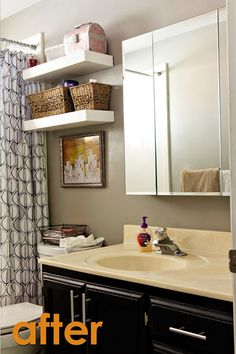 after bathroom organization; yellow and gray bathroom with floating shelves