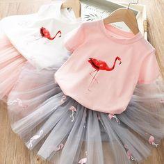2020 New Summer Girls Dresses Girls Princess Suits Flamingo tutu Dress Baby Birthday Outfits Children Clothing Years, Ropa de niña, Flamingo T Shirt, Flamingo Dress, Flamingo Print, Flamingo Top, Girls Summer Outfits, Girl Outfits, Cute Dresses, Girls Dresses, Robes Tutu