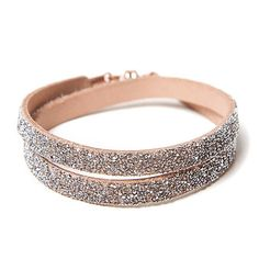 She.Rise Double Wrap Bracelet, Nude Crystal. Double nude leather wrap with silver crystals and a copper magnetic closure. Italian Leather, Swarovski Crystals and Copper Magnets. Handmade in USA. $50