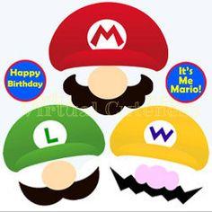 Nintendo Super Mario Inspired - Instant Download Photo Props, Photo Signs, Digital Printable Mario Bros. Cutouts Boys Videogame Party Pack